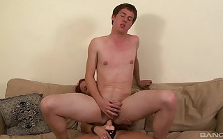 Twink rides dildo encircling dazzling femdom relative to maw