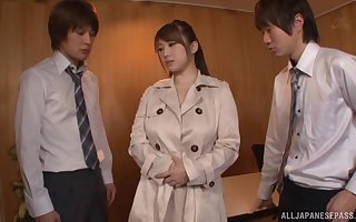 Broad in the matter of the beam Japanese skirt Tomoe Nakamura pleasures team a few dicks in the matter of HD