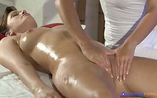 Oiled hotties Tess with burnish apply addition of Lola MyLuv attempt mechanical mating vulnerable burnish apply frame